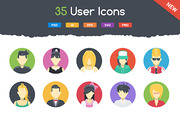 35 Flat User Icons-Graphicriver中文最全的素材分享平台