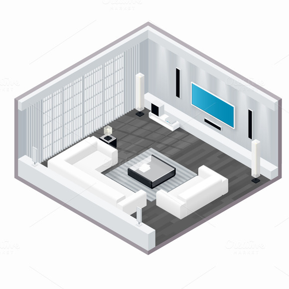 living room isometric set icons on creative market