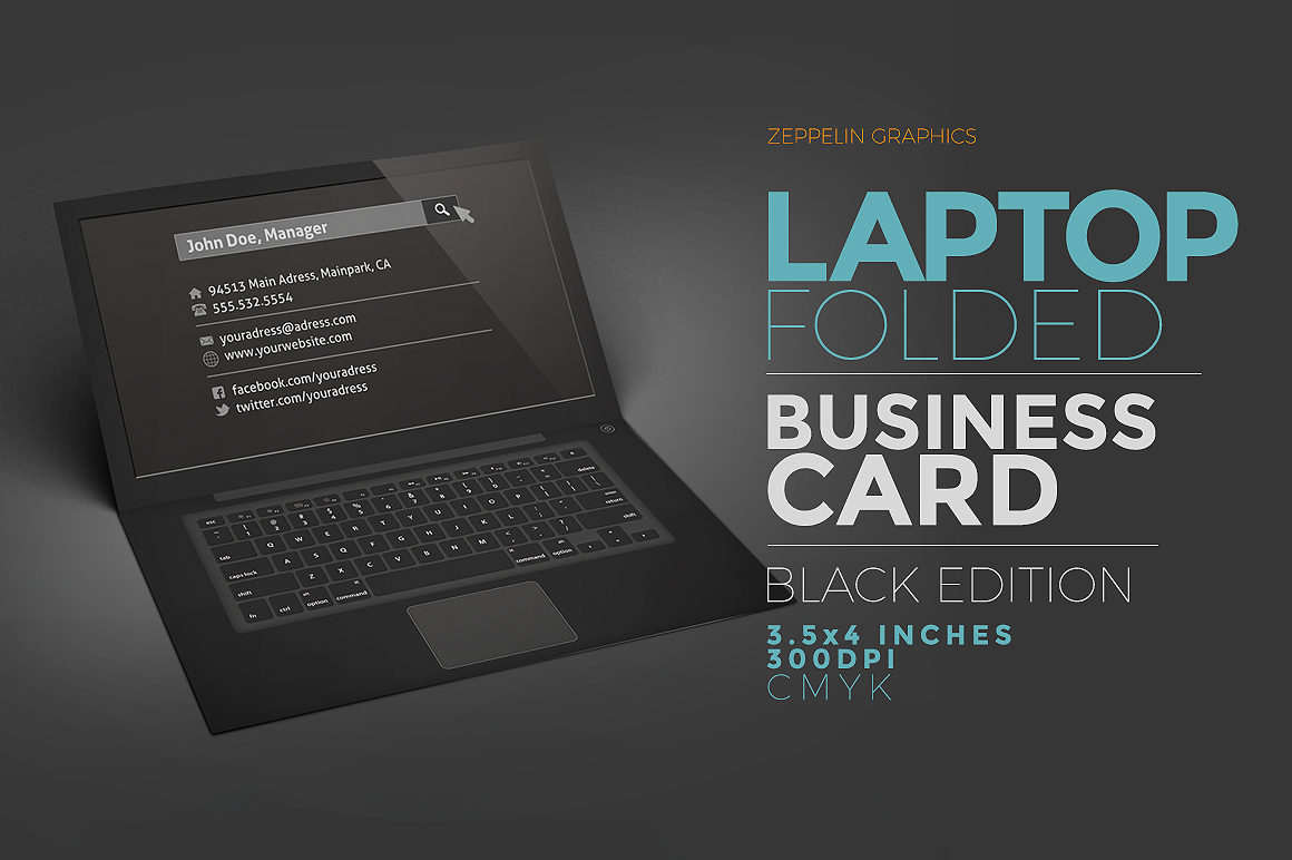 Laptop Business Card Black Edition Business Card