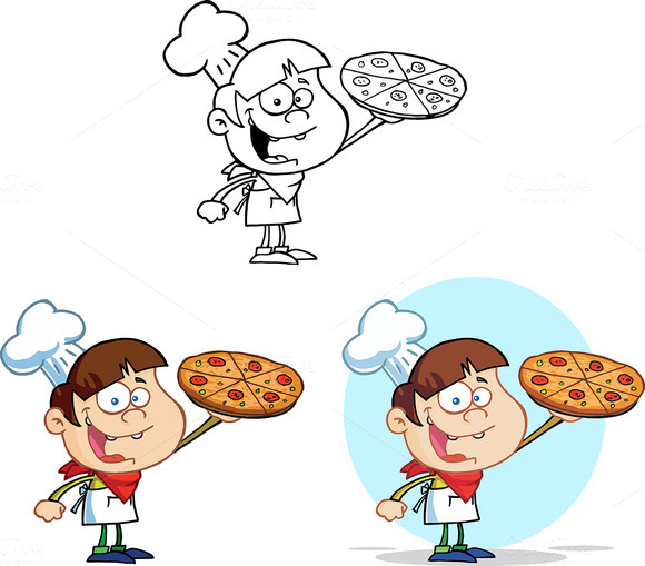 Boy Chef Holding A Pizza. Collection - Illustrations