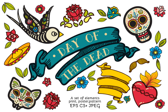 Day of the Dead. Hand drawn set. - Illustrations