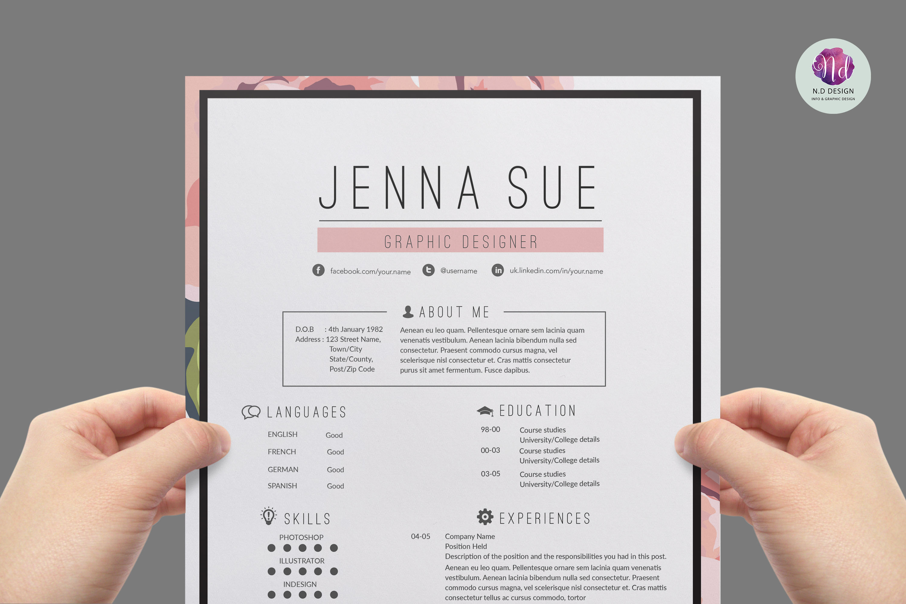 floral resume package
