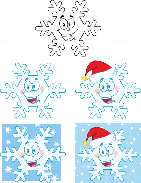 Snowflake Character. Collection - Illustrations
