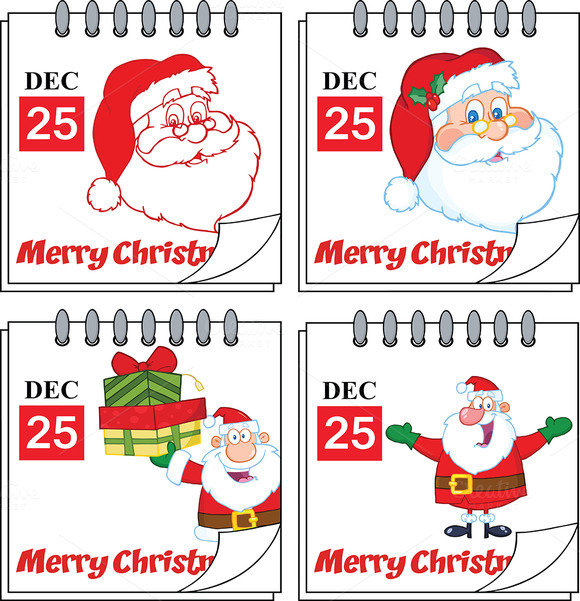 Christmas Calendars. Collection Set - Illustrations