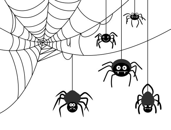 Spiders on cobweb ~ Graphics on Creative Market