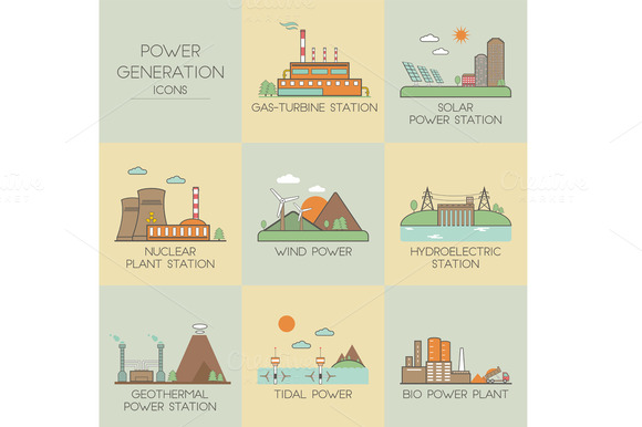 Power generation. Set icons - Objects