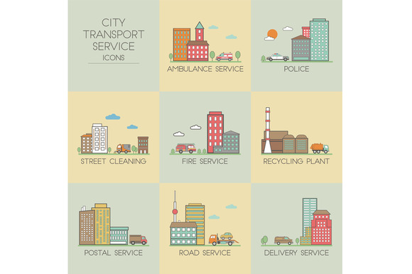 City Transport Service Set Icons