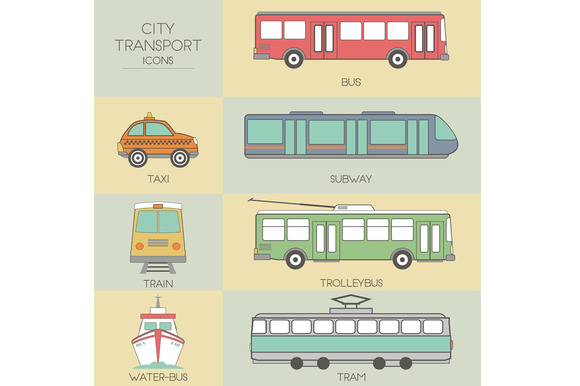 City transport. Set icons - Objects