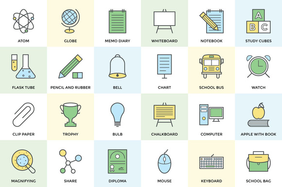 100 School And Education Icon Set