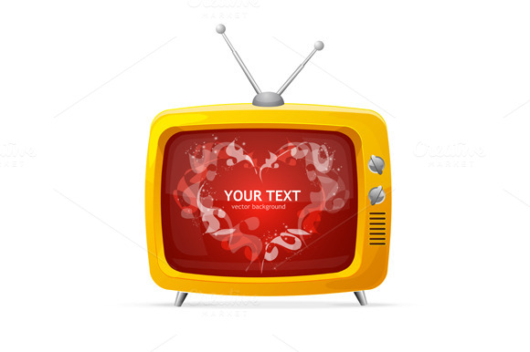 Heart and Tv Card. Vector - Illustrations