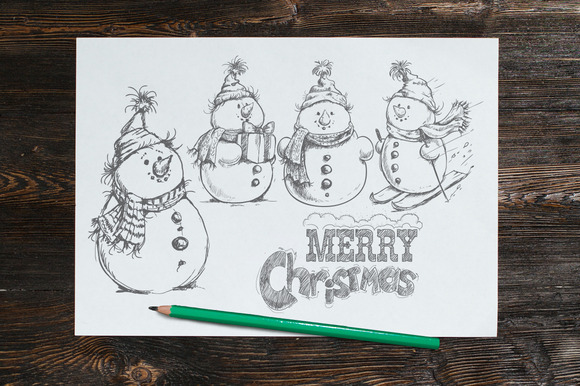 Hand Drawn Sketch Style Snowman Set