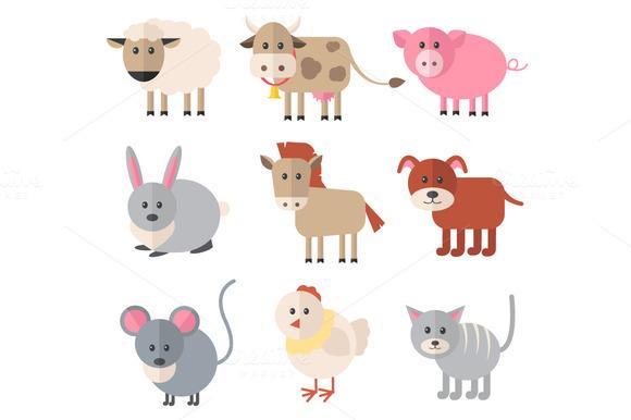 Farm animals. Vector flat icon set - Icons