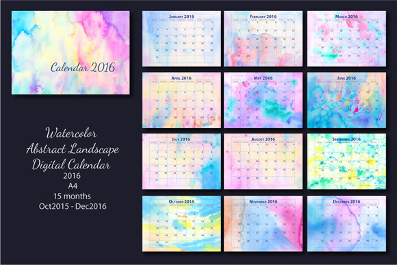 2016 Monthly Calendar Watercolor A4 ~ Stationery Templates on Creative ...