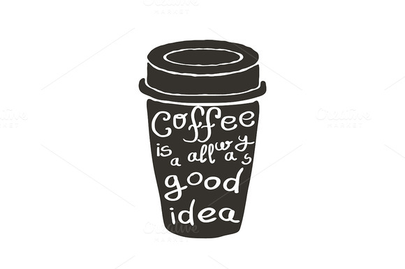Hand Drawn Coffee Cup With Text Vect