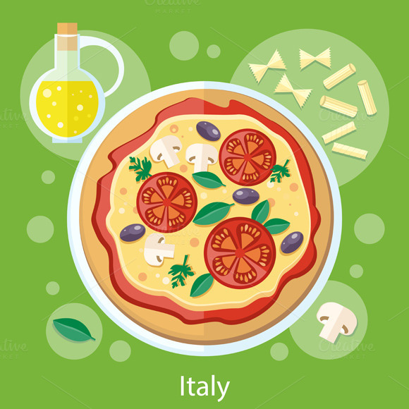 Italian Food. Pizza with Ingredients - Illustrations