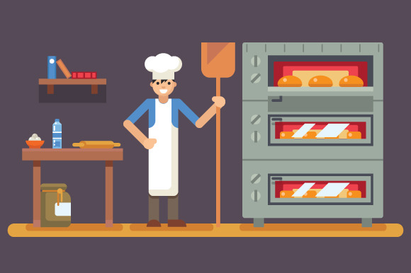 Cook Baker Cooking Bread Icon On Bak