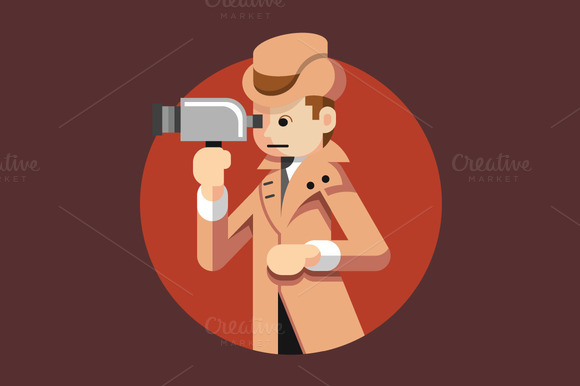 Vector Detective Flat Illustration