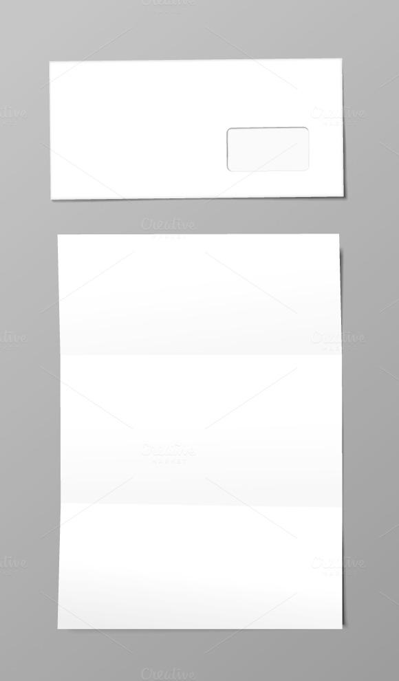White Envelope And Letter Mockup