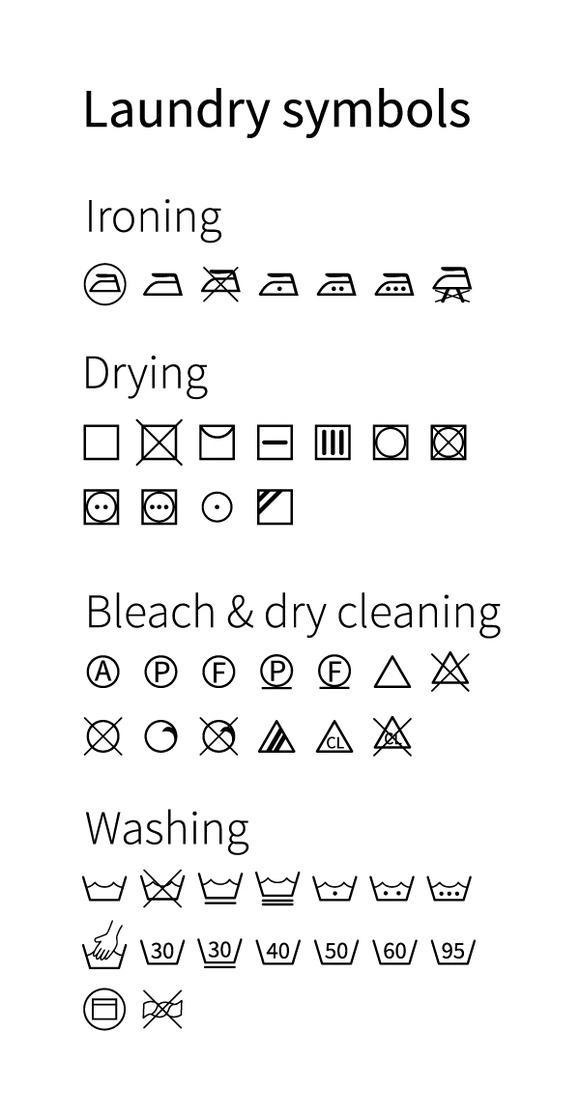 Laundry Symbols Icons On White
