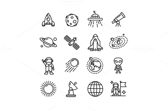 Spase Outline Icons Set. Vector - Icons