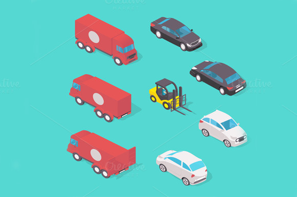Isometric Vehicle Set