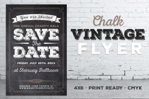 vintage chalk flyer invite invitation templates on creative market. Black Bedroom Furniture Sets. Home Design Ideas