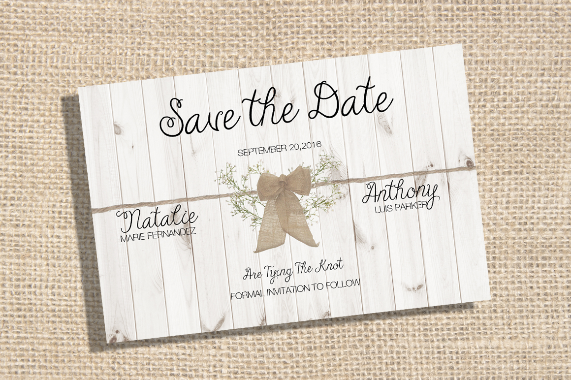 save the date rustic theme card templates on creative market