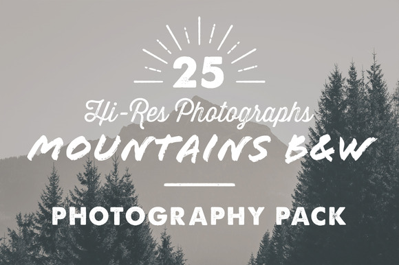 25 X Mountains B W Photography Pack