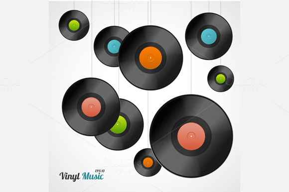 Vinyl Record Set. Vector - Illustrations