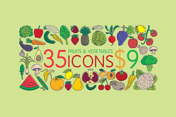 35 Icons Fruits Vegetables