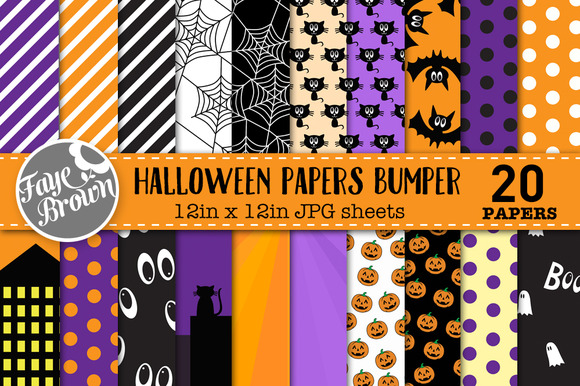 Halloween Digital Scrapbook Papers