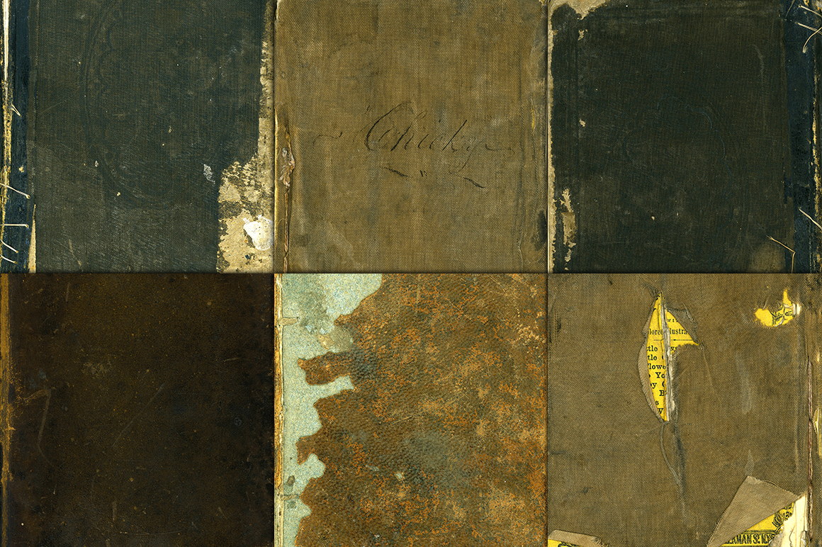 Worn Book Cover Photo Tutorial ~ Old worn book covers digital paper graphics on creative
