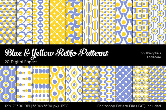 Blue And Yellow Retro Digital Papers