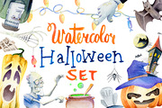 Watercolor Halloween Set 万-Graphicriver中文最全的素材分享平台