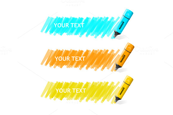Markers Text Box. Vector - Illustrations