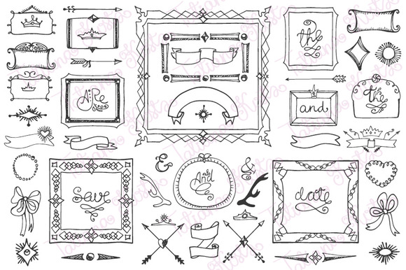 Doodle Frame Decor Elements 04