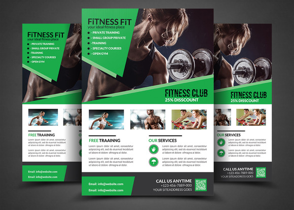 Fitness flyer gym flyer templates flyer templates on for Gym brochure template