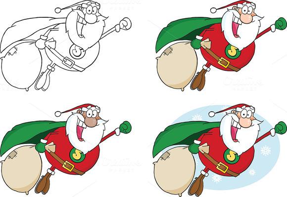 Super Hero Santa Fly. Collection Set - Illustrations