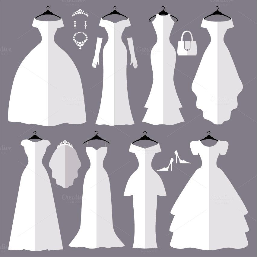 Wedding Dresses Flat Silhouettes Set
