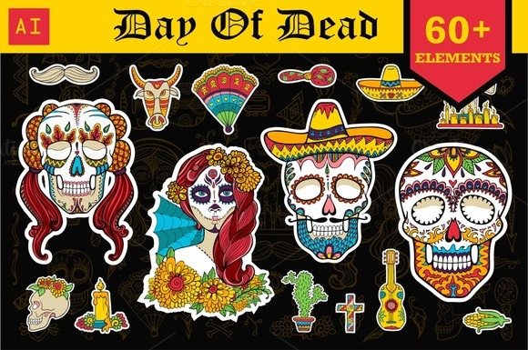Day of Dead. 60+ vector elements. - Illustrations