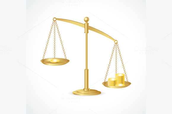 Justice Scales and Money. Vector - Illustrations