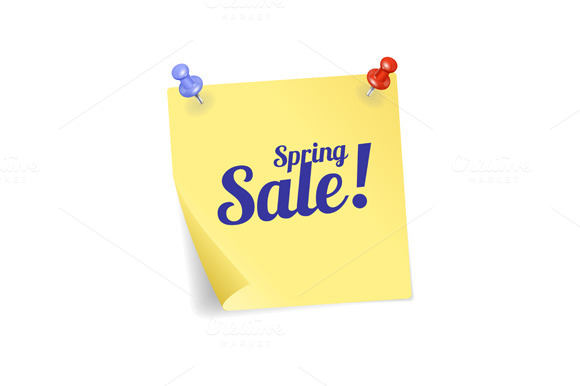 Sale Yellow Sticker and Pins. Vector - Illustrations