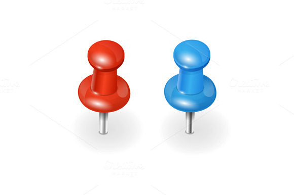 Red And Blue Pushpin Vector
