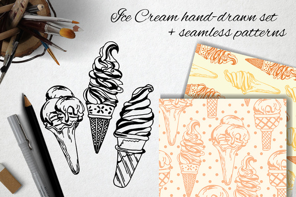 Ice Cream Hand-drawn Set