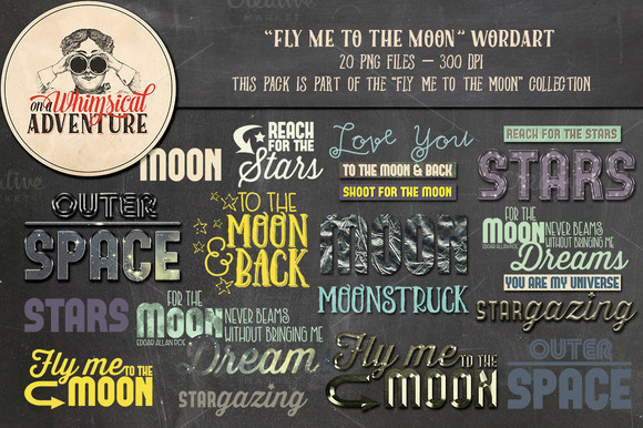 Fly Me To The Moon Wordart