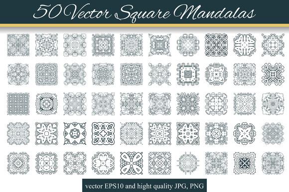 50 Vector Square Mandalas 2