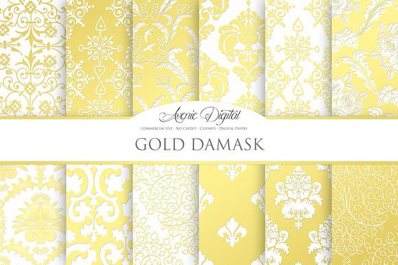 Gold Damask Digital Papers