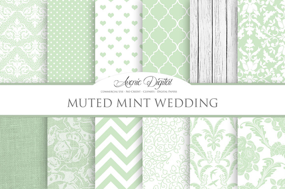 Muted Mint Wedding Digital Paper