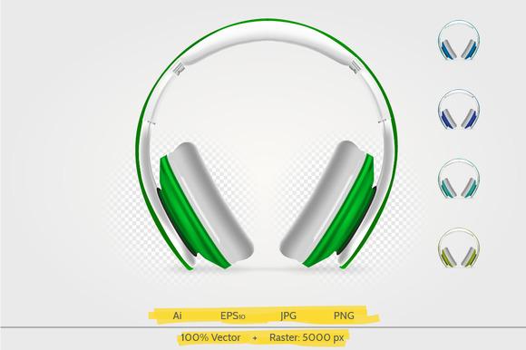Colorful Wireless Headphones Vector