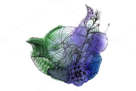 Watercolor Snail In Vector